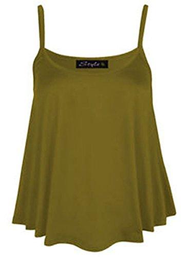 Neuf Pour Femmes Uni Swing Gilet Débardeur Chasuble Cami Femmes Grande Taille Évasée taille UK 8-24 Marron - Moka