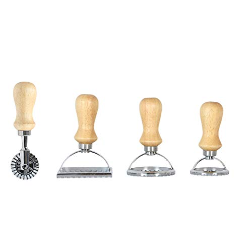 Juego de 4 moldes para hacer sellos de ravioli de pasta con rodillo de acero inoxidable, prensador de pasta Crylee,...