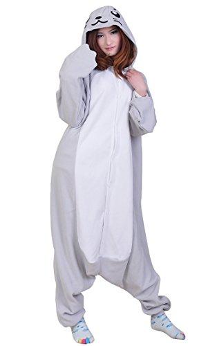 Fandecie Tier Kostüm Tierkostüm Tier Schlafanzug Hund Pyjamas Jumpsuit Kigurumi Seehund Damen Herren Erwachsene Cosplay Tier Fasching Karneval Halloween (Seehund, M:Höhe 160-169cm)