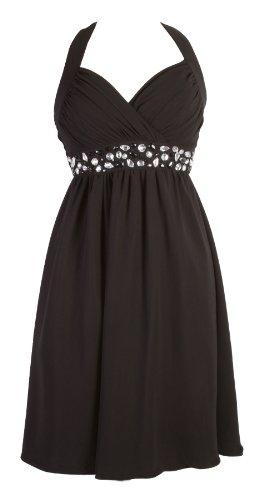 My Evening Dress - Kurzes Damen Cocktailkleid Neckholder Knielang Chiffon Kleider Abendkleider Ballkleider mit Strasssteinen Frauen Schwarz