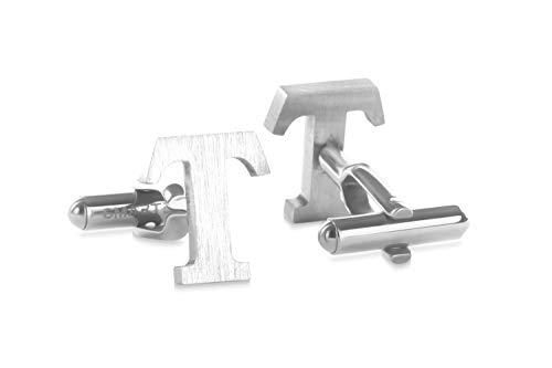 SMARTEON® Manschettenknöpfe für Herren   Premium Buchstaben A-Z   Silber & Schwarz aus hochwertigem Edelstahl in mattem Design   Elegante Cufflinks in einem edlen Geschenk-Set (T - silber)