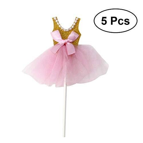nzessin Tutus Kleid Kuchen Toppers - Ballerina Rock Cupcake Picks für Mädchen Geburtstag Thema Party (Golden) - Packung mit 5 ()