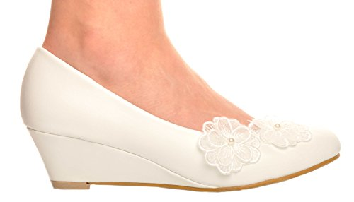 Blanc Detail en Perle et Fleur de Dentelle Compense Moyen Talons de Mariage Chaussures de Mariee