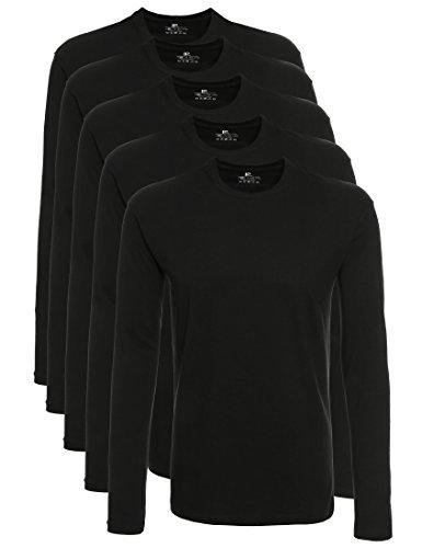 Lower East 5er Pack Herren Langarmshirt mit Rundhals-Ausschnitt, in Verschiedenen Farben 5er Pack, Schwarz, XXX-Large