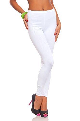 futuro fashion voller Länge Baumwolle Leggins alle Farben alle Größen aktiv-hose Sport Hosen - Weiß, 36 (S)