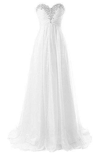 JAEDEN Brautkleider Lang Strass Chiffon Hochzeitskleider A Linie Damen Weiß EUR40