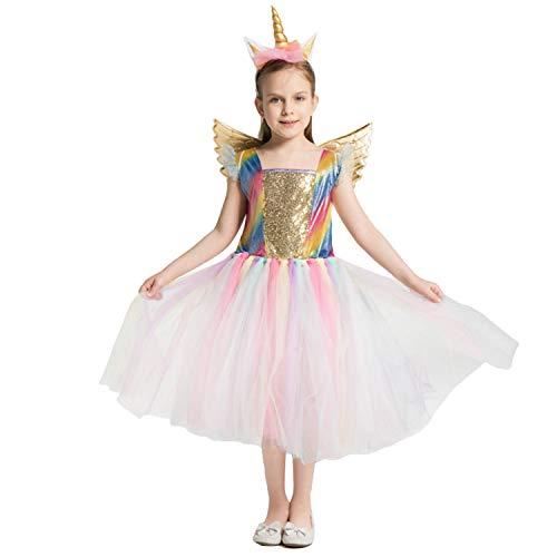 LOLANTA Mädchen Einhorn Kostüm Einhorn Kleid Kinder Kostüm Halloween Pony Cosplay Kostüm (122/128 (6-7 Jahre), Einhorn (Reiten Sie Auf Einem Einhorn Kostüm)