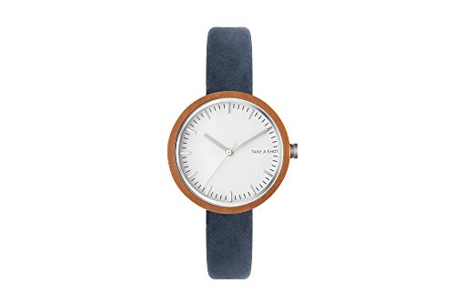 TAKE A SHOT Armbanduhr Frauenuhr Holzuhr Damen Frauen Lederarmband 36mm (Walnuss/Blau/Weiß)
