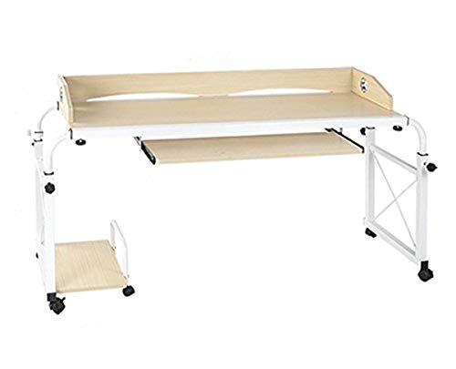 tcatec Höhenverstellbar Computertisch Betttisch mit Rollen, 120CM mit Case Ständer Tray Drawer für Bett Arbeit Büro (Ahorn, 140 cm)