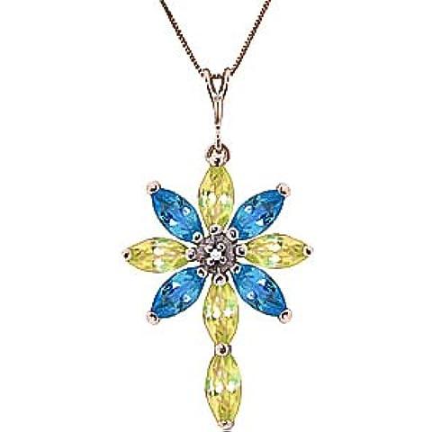 QP joyeros diamante Natural, azul topacio y collar con colgante en circonitas 9ct oro Color de rosa - 1.98ct 2256R