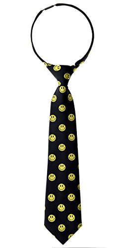 Retreez Happy Smiley Face Emoticon Woven PRE-TIED Boy de corbata - varios colores negro negro 4 - 7 Años