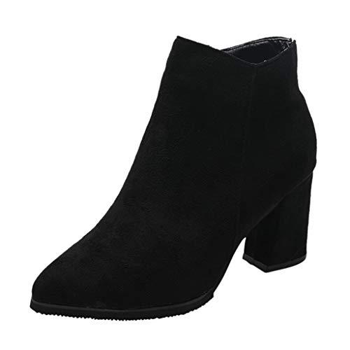 LILIHOT Damen Winter wies Short-Tude große Schuhe Damen hochhackige Stiefel Neu Stiefeletten Boots mit Blockabsatz Profilsohle Stiefeletten Plateau High Heels Boots -