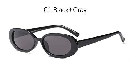 MINGMOU Kleine Ovale Sonnenbrille Frauen Männer Retro Vintage Sonnenbrille Damen Schwarz Weiß Rosa Klar Sonnenbrille Für Frauen Der 90Er Jahre, 1