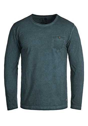!Solid Tharan Herren Longsleeve Langarmshirt Shirt mit Rundhalskragen und Brusttasche aus 100% Baumwolle, Größe:XL, Farbe:Insignia Blue (1991)