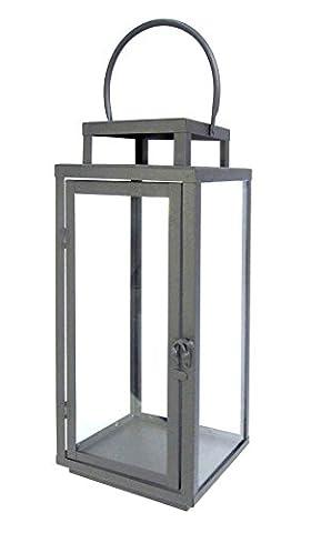 Floor Lamp Garden Lantern Metal Lantern Square Grey with Modern Design