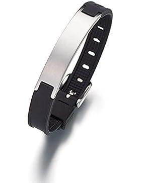 Lunavit Pure Damen und Herren Magnetarmband, gebürstete Schmuckplatte mit zwei SmCo-Magneten à 2000 Gauß und einem...