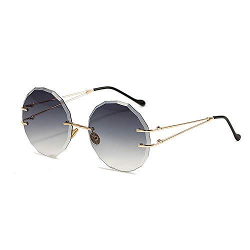 Junjiagao UV Schutz Mode Frameless Trimmen Marine Stück Sonnenbrille für Frauen Ultra leicht (Farbe : Grey/Purple)