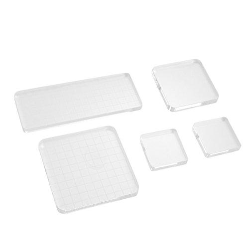 Healifty Transparent Stempel Block 5 Stück Acrylblock Stempel für Scrapbooking Handwerk -