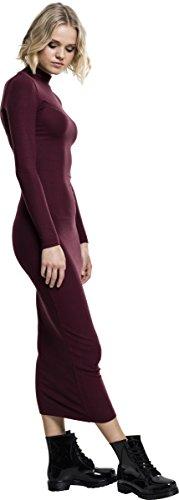 Urban Classic Damen Kleid Ladies Long Turtleneck Dress Cherry