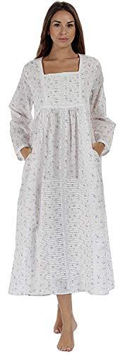 The1forU Nachthemd 100% Cotton - Damen Lang Viktorianisch Nachthemd Esther - Lila, XXL -