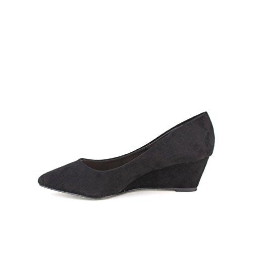 Cendriyon, Compensé noir Feutrine KYLIA Chaussures Femme Noir