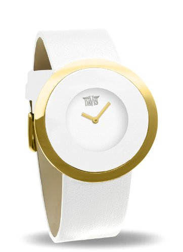 Davis Fashion Design White Gold Watch for Women and Steel Case White Leather Strap White Dial