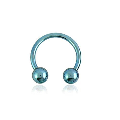 Barbell circulaire 14Gx3/8(1.6x10MM) en Titanium Grade G23 anodisé avec Boule 4MM Light Blue