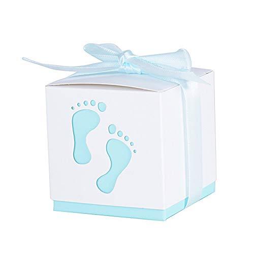 50 STK. Gastgeschenke Geschenkbox für Baby Taufe - Baby Shower Süßigkeit Flaschen Candy Geschenk Gastgeschenk Box Bonboniere Taufe Tisch Dekoration mit eleganten Bändern & Netter Fußabdruck