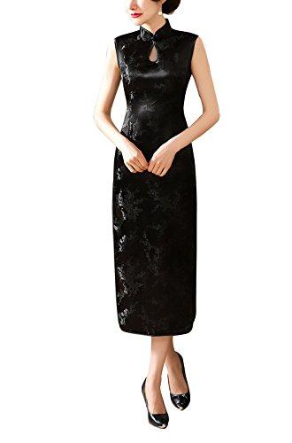 Lange Schlüsselloch (ACVIP Damen Kurzärmelige Cheongsam Qipao Lang Schlüsselloch Kleider Pflaumenblüte Drucken Schwarz (42-Tag3XL))