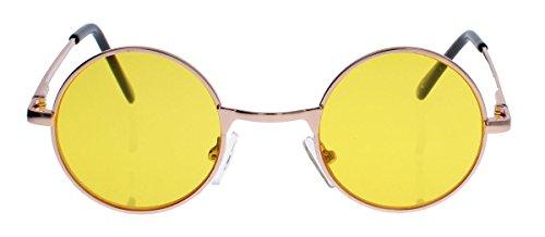 Kleine runde Retro Sonnenbrille im 60er Jahre Look Metallrahmen Vintage Look SLR (Gelbe Gläser)