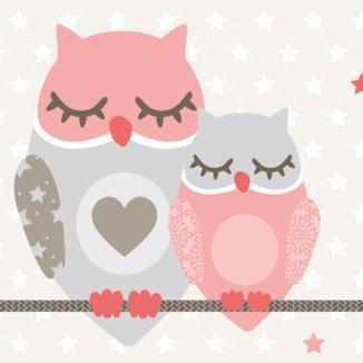 anna wand Bordüre selbstklebend OWL STARS GIRLS - Wandbordüre Kinderzimmer / Babyzimmer mit Eulen & Sternen in Rosa-Taupe - Wandtattoo...