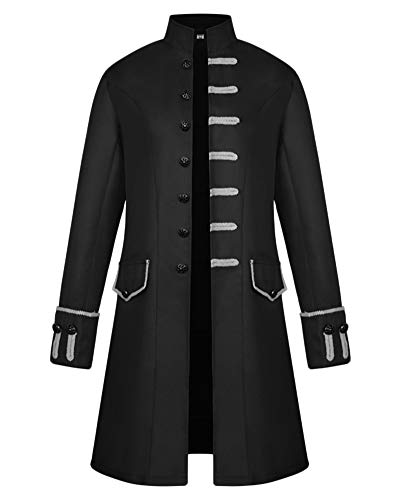 GladiolusA Chaquetas De Abrigo Largo De Estilo Victoriano Gótico Steampunk para Hombres Uniforme Chaqueta Negro M