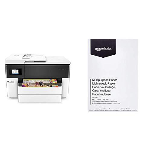 HP OfficeJet Pro 7740 A3-Multifunktionsdrucker (DIN A3, Drucker, Scanner, Kopierer, Fax, WLAN, Duplex, HP ePrint, Apple Airprint, USB, 4800 x 1200 DPI) weiß & AmazonBasics Druckerpapier, DIN A4 -