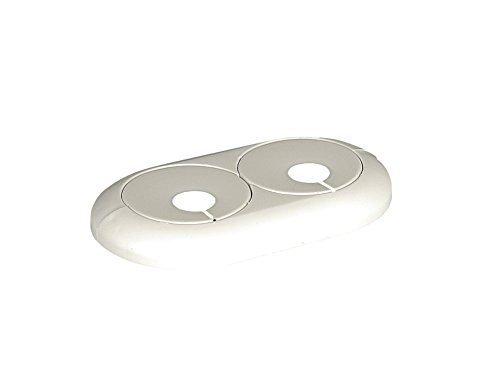 Fränkische Rohrwerke Doppelrosette für Rohraußendurchmesser 16 mm mit variablem Lochabstand von 35 - 58 mm, weiß, 1 Stück, 75916800 (Ein Rohr Manschette)