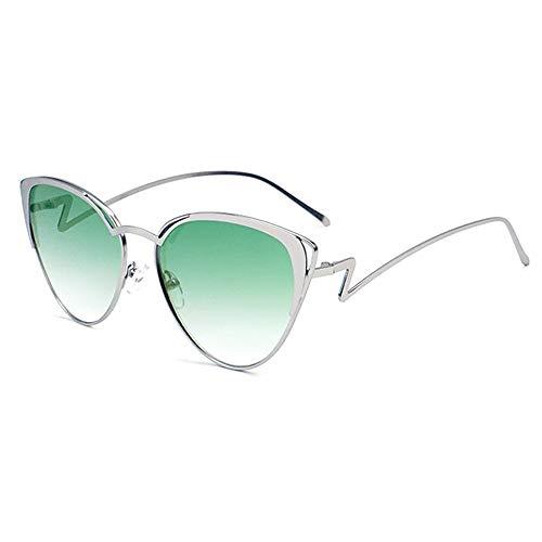 WULE-Sunglasses Unisex Silber Hohl Persönlichkeit Rahmen UV400 Schutz Unisex Brille New Metal Triangle Kleine Box Cat Eye Sonnenbrille (Farbe : Green)