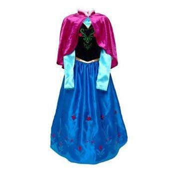Disney original - Kinder Mädchen Kostüm Eiskönigin Anna - - Samt Umhang- Alter 7 - 8 (Snow Kostüm Authentische White)