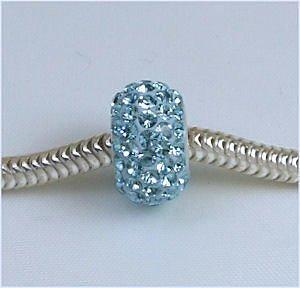 Swarovski AQUA Tiffany Blue Crystal Pave European Charm Bead Fits Pandora Style Bracelets - Tiffany Crystal