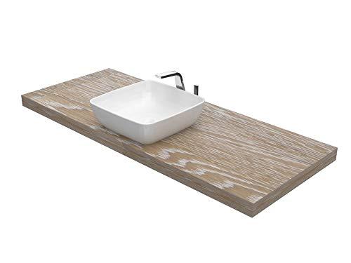 Ve.ca-italy mensola lavabo su misura in legno massello prodondita' 50 cm - spessore 6 cm, in 4 colorazioni + kit reggimensola 100% made in italy (da 121 a 140 cm, frassino shabby)