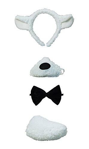 Schaf Ohren Kostüm - Bristol Novelty DS122Lammzubehör mit Klang, weiß, Einheitsgröße