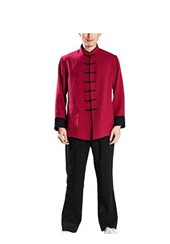 Tai Chi Kleidung Männer und Frauen Leinen Farbe Gerade Bein Hosen Kampfkunst Praxis Kleidung Morgengymnastik (Seide Chinesisches Kung Fu Kleidung)