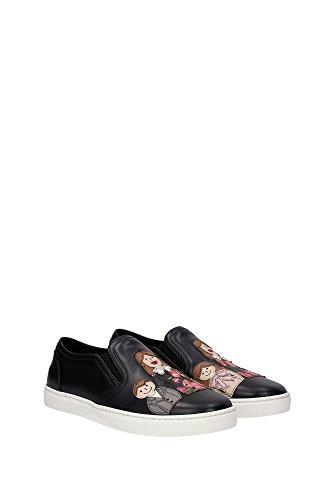 CK0028AE1588S574 Dolce&Gabbana Pantoufle Femme Cuir Noir Noir