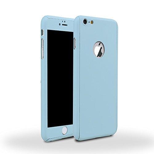 Full Cover 360° caso + temperato vetro di protezione Case Cover iPhone 5/5S Blau