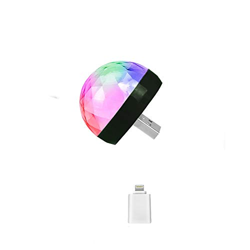 Mini-USB-Disco-Licht, Feleph Micro-USB Mini-RGB-LED Mini-USB-Disco-Licht, Feleph Micro-USB-Mini-RGB-LED-Birne 4W Bühnenlicht Sound Control Club Pub Disco-Party-Musik-Kristall (1 Stück, für IOS) - 4w Mini