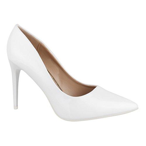 Elara Damen Pumps spitz | Moderne High Heels | Bequeme Lack Stilettos | Chunkyrayan C-12 White-38 - Bequeme Schuhe Heels