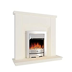 MODERN LIFE Electric Fireplace Suite Cream Ivory Surround with Glass fronted electric fire 2000 Watt