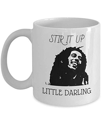 Hshbgiu - Bob Marley - Stir it Up - Reggae, Marley, Bob Marley Quote, Jamaica Mug, Bob Marley Mug, Bob Marley Art, Rasta Gifts,11oz Ceramic Coffee Mug/Cup, Gift Wrap Available