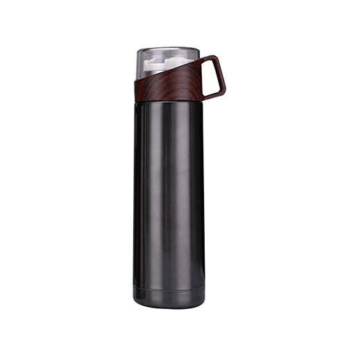 P12cheng Isolierflasche,Vakuum Flasche,Die moderne thermosflasche,Tragbare Reise-Edelstahl-Vakuumflasche-thermische Schalen-Kaffee-Wasserflasche Black 500ml -