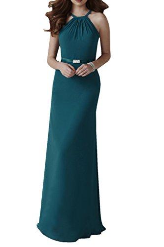 Missdressy Damen Chiffon Neckholder Falte Abendkleid Lang Band Blaugruen