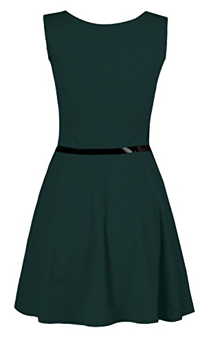 Fast Fashion Damen Kleid Plain Sleeveless Belted Ausgestelltem Skater Aquamarin