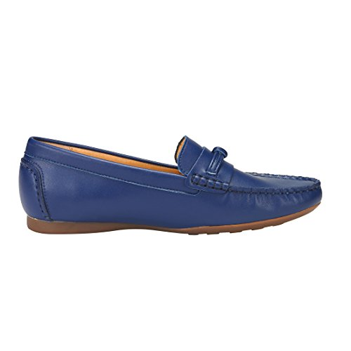 JENN ARDOR Penny Loafers für Frauen: Vegan Leder Slip-On Komfortable Driving Mokassins Wohnungen Marine